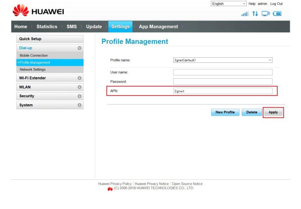 HUAWEI「E5573s-856」Profile設定