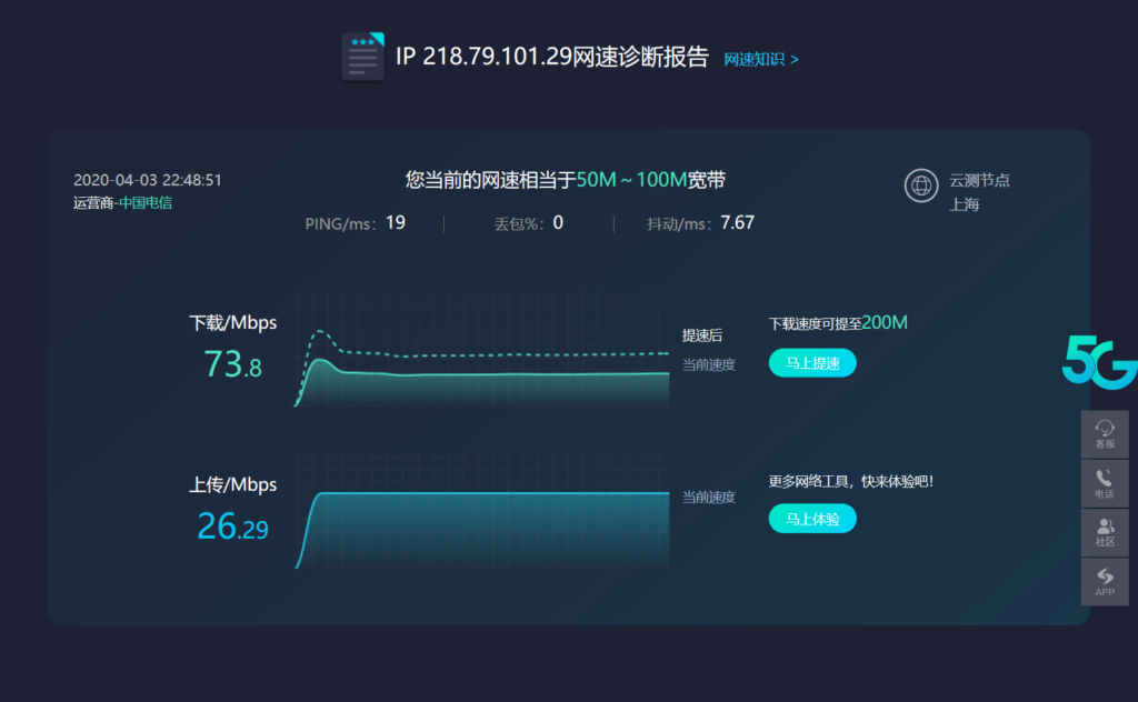 中国インターネット速度を測定・中国国内
