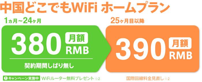 中国どこでもWiFi・ホームプランは2年間月額380RMB